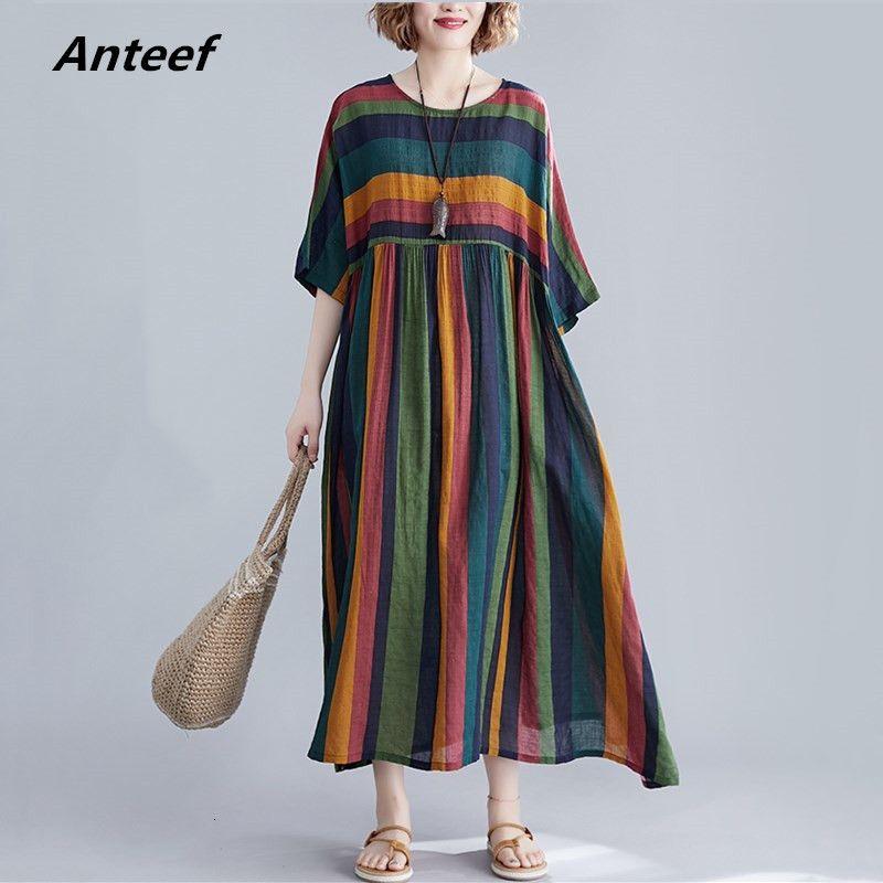 хлопок плюс размер старинных нашивки женщин случайные свободные длинные летние платья элегантные одежды 2020 женская одежда сарафан