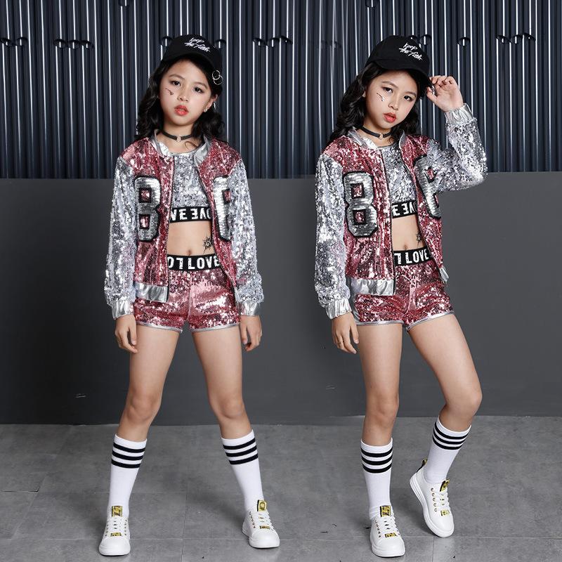 Tammy Ada Kids Girl Sequin Dancing Pink Silver Jacket Coat Crop Top Shorts 3pcs Hip-hop Jazz Dance Clothes Children Sets Y190518