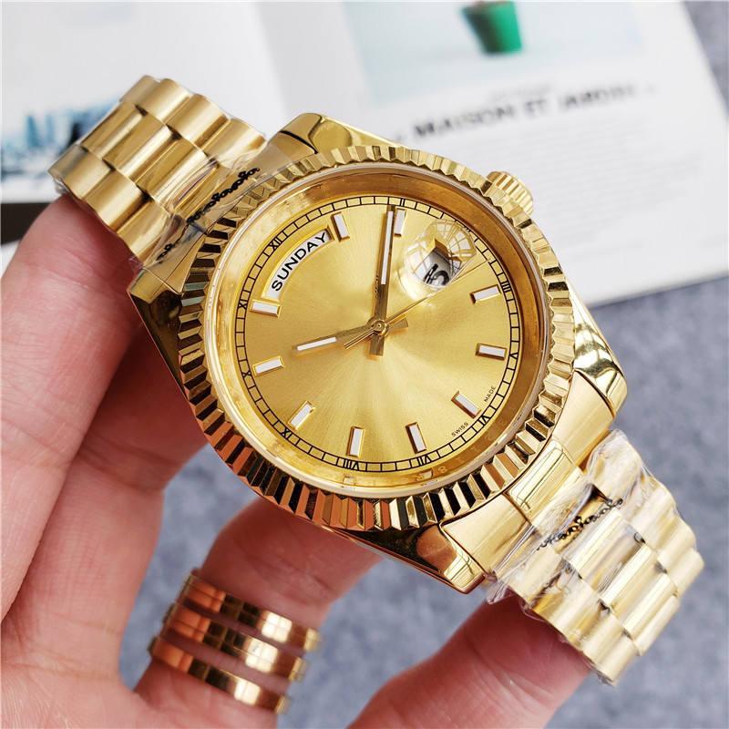 أعلى جودة الرجال النساء أزياء الذهب ووتش يوم وتاريخ الفولاذ المقاوم للصدأ الحركة التلقائي مصمم الميكانيكية ساعات اليد ساعة اليد ساعة مونتر