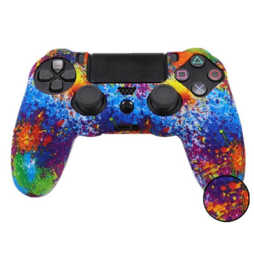 색상 실리콘 카모 보호 스킨 케이스 소니 DUALSHOCK 4 PS4 DS4 프로 슬림 컨트롤러 안티 슬립 케이스