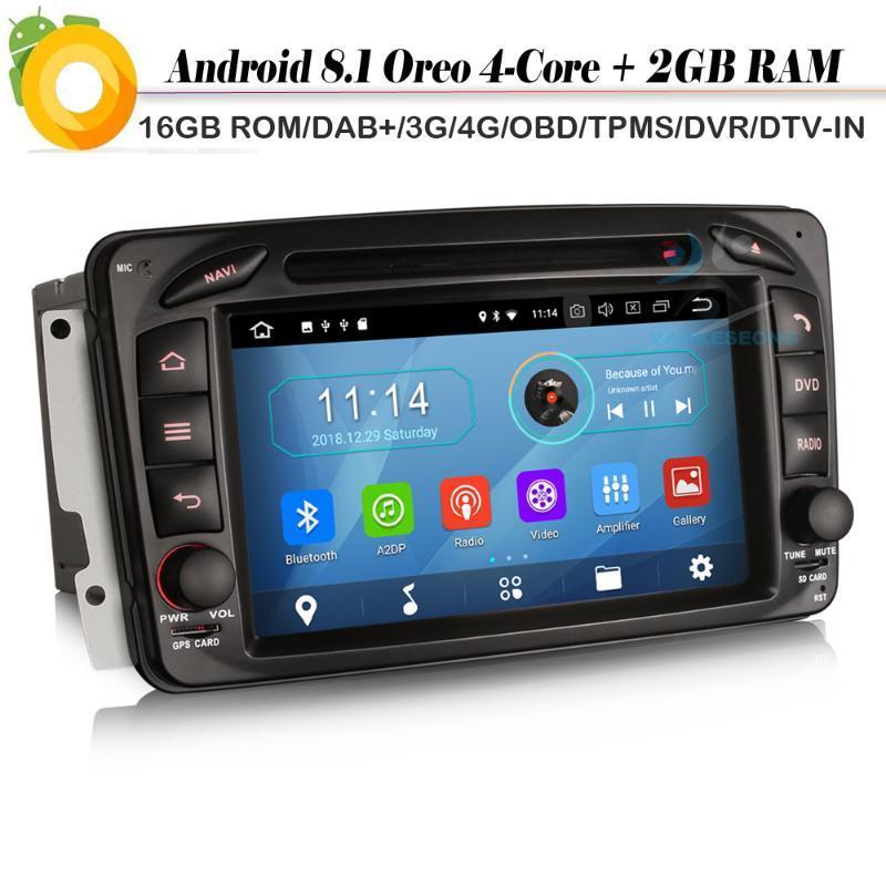 """7"""" Android 8.1 Autoradio Car Stereo Sat Nav DAB+ Radio RDS BT DVD USB SD DVR OBD FOR Class C/G/CLK Viano Vito W209"""