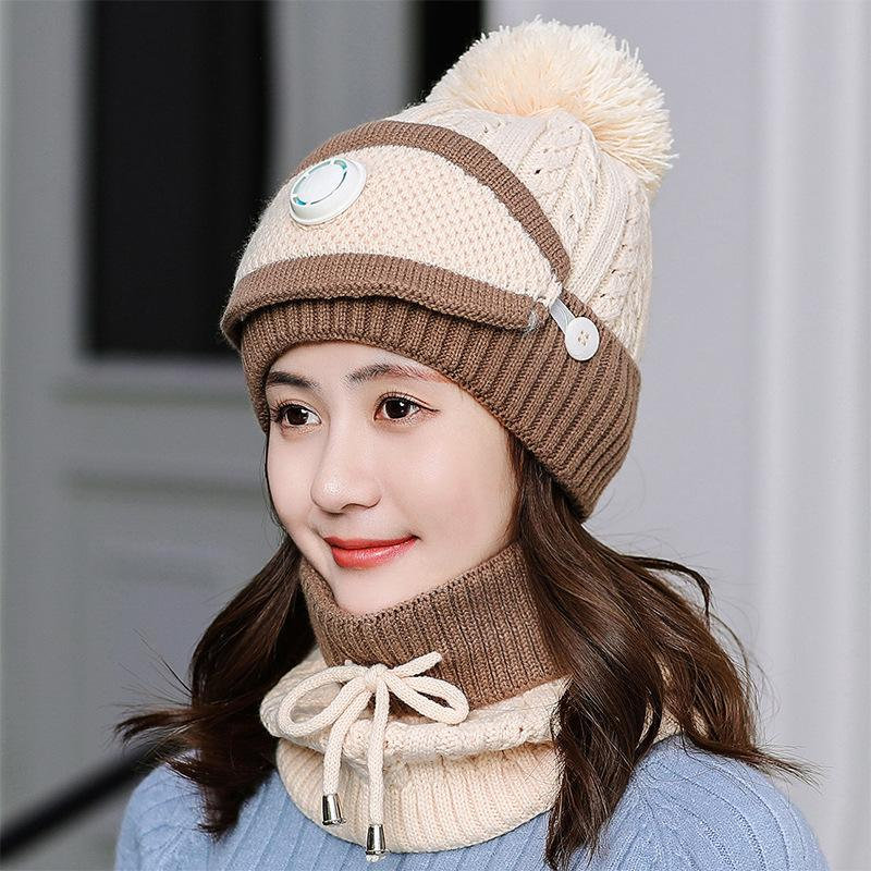 Fashion Winter Hat Scarf Mask Set for Women Girls Warm Beanies Breathe Scarf Pompoms Knitted Caps and Scarf Mask Windproof Beanies Hat