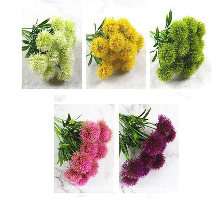 único tronco de dente de leão Flores artificiais dandelion Plastic casamento Flor decorações Bride Bouquet Partido Home Decor 5 cores CFYZ36