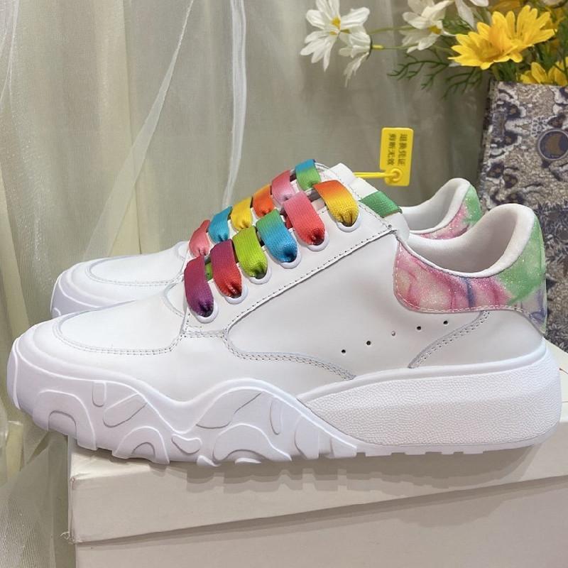 scarpe colori misti primavera e l'estate casuale delle donne di sport scarpe da tennis Nuovo appartamento Vera Pelle rotonda testa Donna scarpe Scarpe Shallow