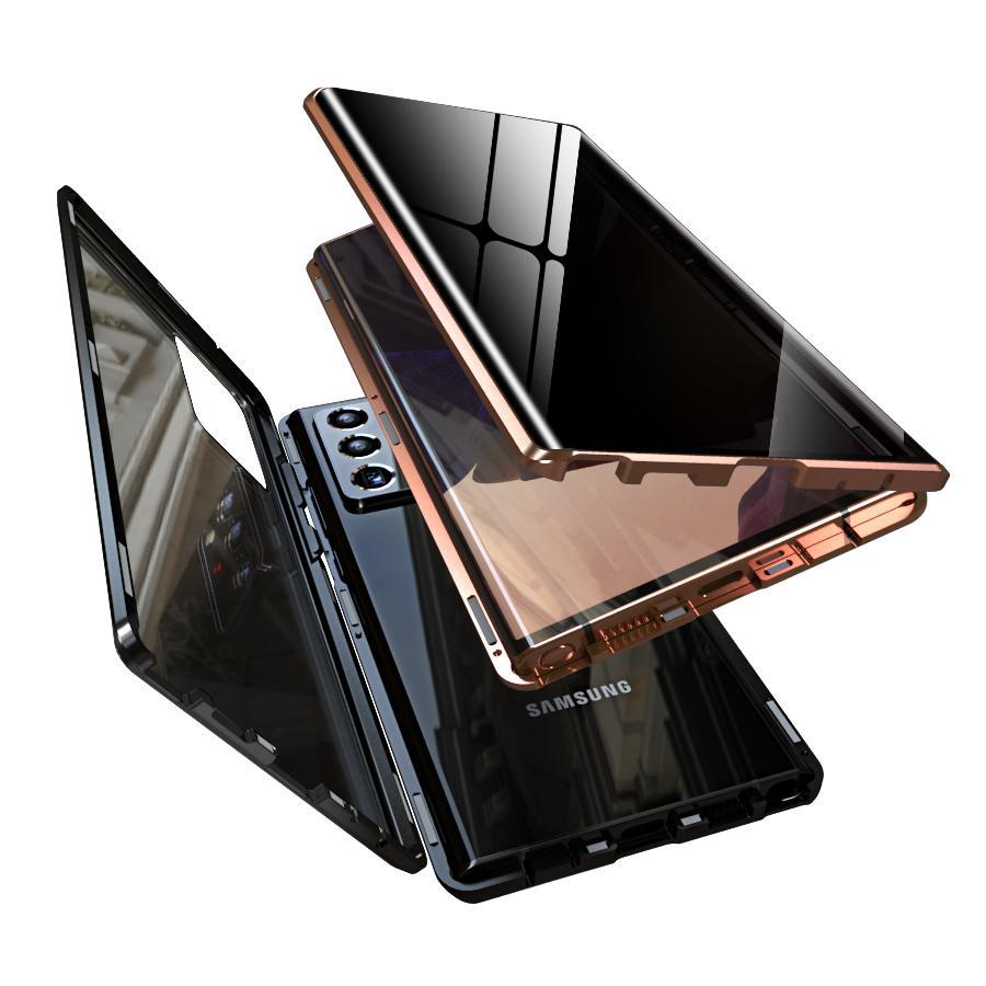 Manyetik Adsorpsiyon Darbeye Dayanıklı Metal Tampon Durumda Anti Spy Gizlilik Temperli Cam Ekran Koruyucu Samsung Galaxy Not 20 Ultra / Note 20