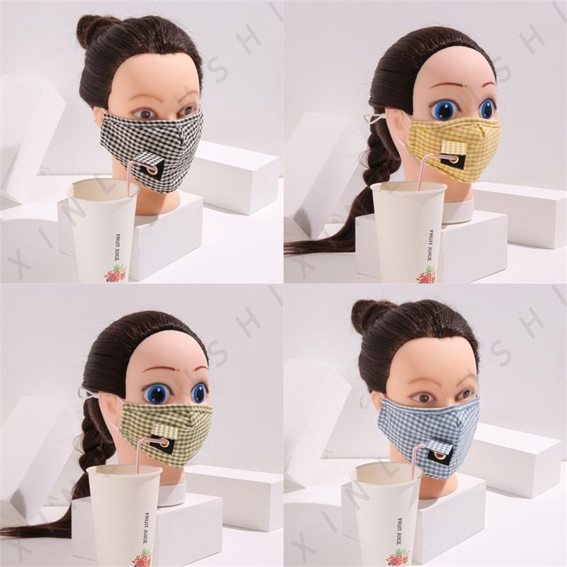 Drinking Holes Plaid Mascarilla Reusable Cotton Face Masks Can Put Filter Piece Good Respirator Adult Kids Washable Pm 2.5 Foldable 5xl E2