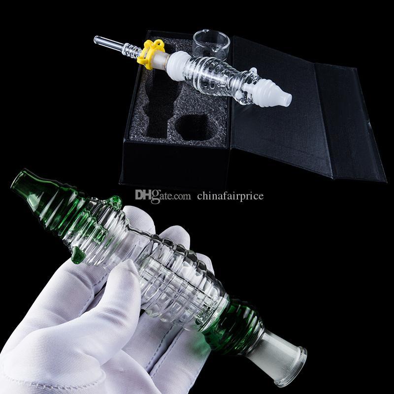 Chinafairprice NC036 boîte-cadeau Bleu Vert Blanc Teal 14mm Titane Quartz Céramique ongles en verre Pipes à main plat fumeurs verre Bangs