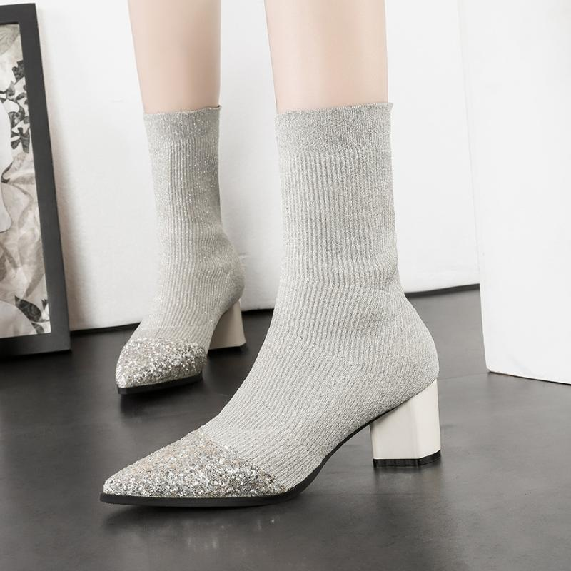 gold/silver glitter pointed toe sock boots women midcalf sequins knitted short botas mujer elastic slim winter boots on pumps607