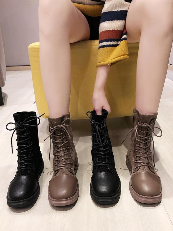 Botas de las mujeres de la motocicleta del tobillo Botas Cuñas Mujer Encaje de invierno Plataformas de otoño de cuero Negro Oxford Zapatos Mujer Botas Mujer