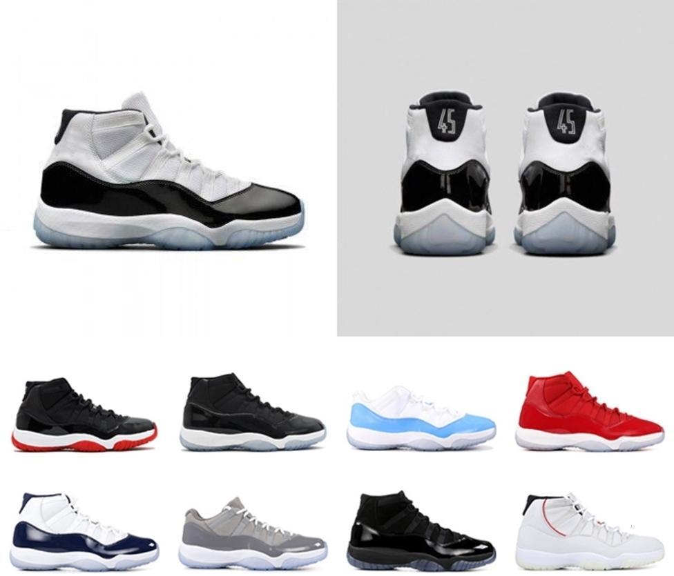 con la scatola 2020 maschile e femminile di pallacanestro Scarpe Sneakers 11S Concord Number 45 Bred cappello e abito Platinum Tinta di Uomini Formatori