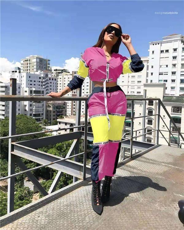 Zipper Sport Street Style Imposta Womens Panelled Lettera Stampa Tute Sprint progettista 2PCS del tubo superiore dei pantaloni della matita Imposta femmine