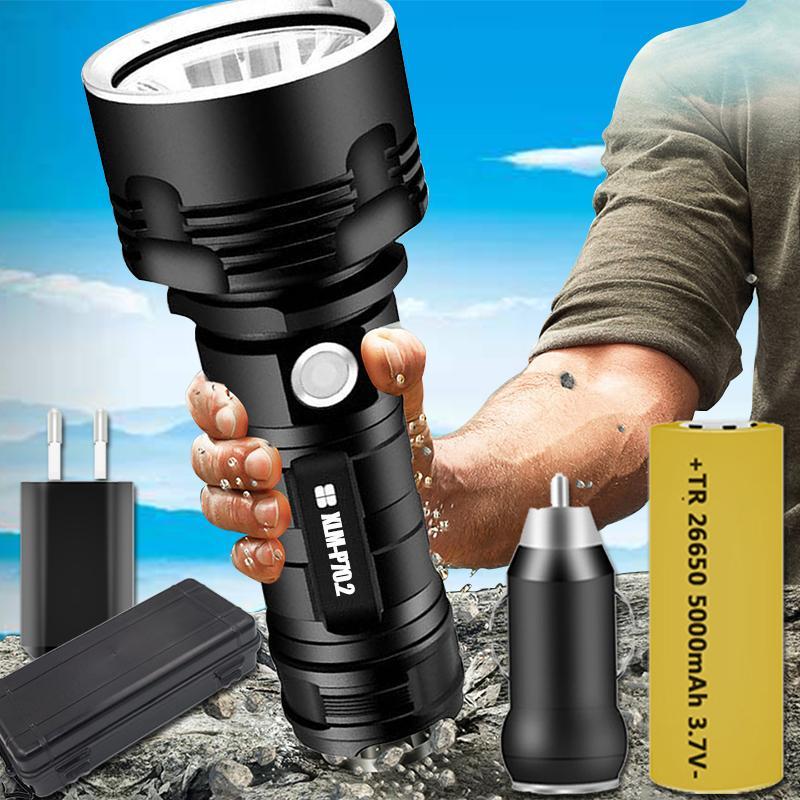 En Güçlü XHP70.2 3 Modlar XM-L2 Taktik Torch USB Şarj edilebilir Linterna Lambası Su geçirmez Ultra Parlak Fener LED