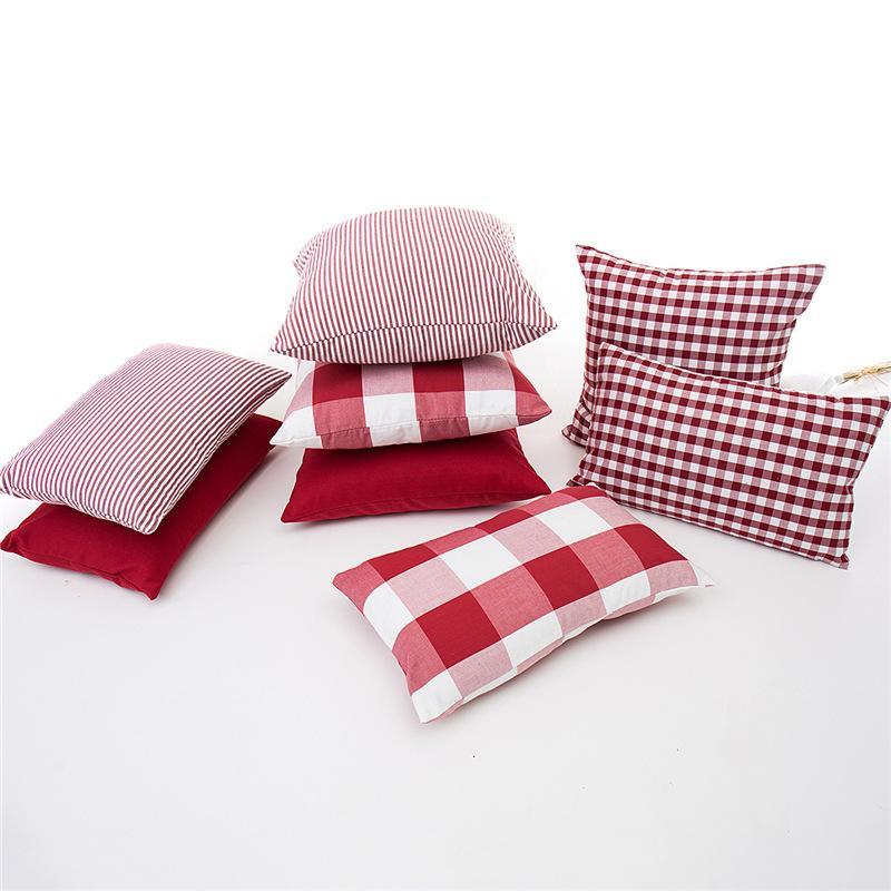45x45 / 50x30cm Rojo blanco a rayas a cuadros cubre sofá llano colchón verificado funda de almohada cintura funda de almohada para la decoración del hogar del respaldo