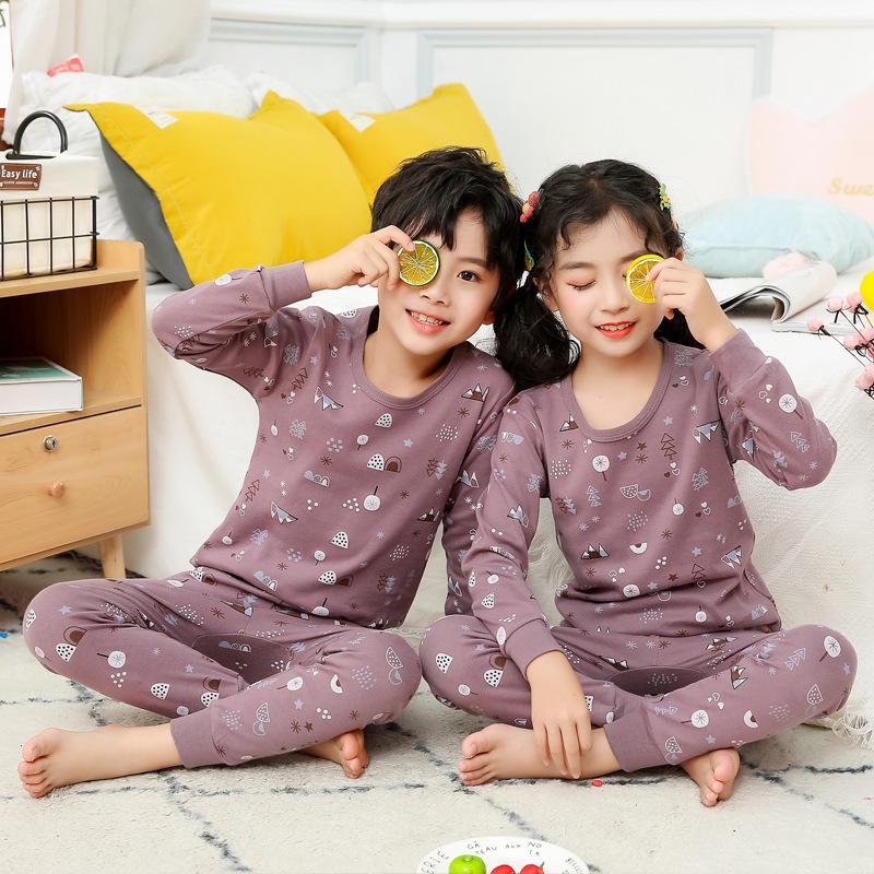 Pijama Çocuk Kız Pijama Setleri Sonbahar Pijama Erkek Pijama Için Bebek Kız Giysileri Uzun Kollu T-shirt + Pantolon 2 adet Çocuk