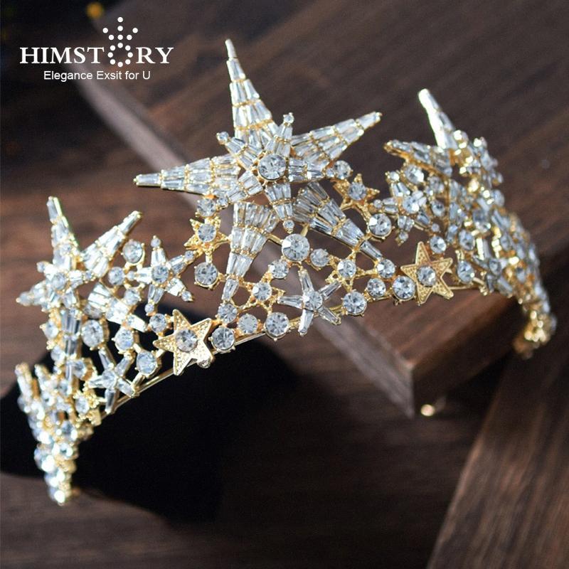 Himstory Новый роскошный Большой размер звезды невесты свадебное Диадемы Корона Великолепная Rhinestone Кристалл Королева Корона Свадебные аксессуары для волос SIrV #