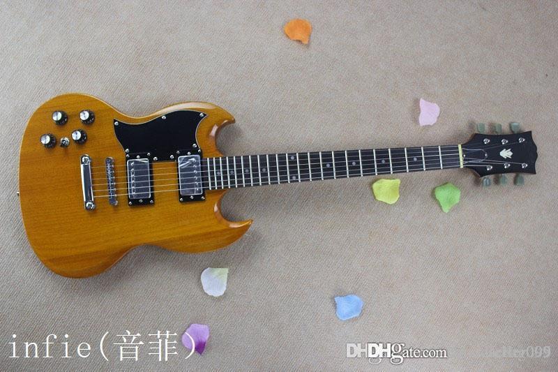 Libre de la buena venta al por mayor de encargo de caoba de alta calidad de sonido de la guitarra de la mano izquierda de madera de color eléctrico