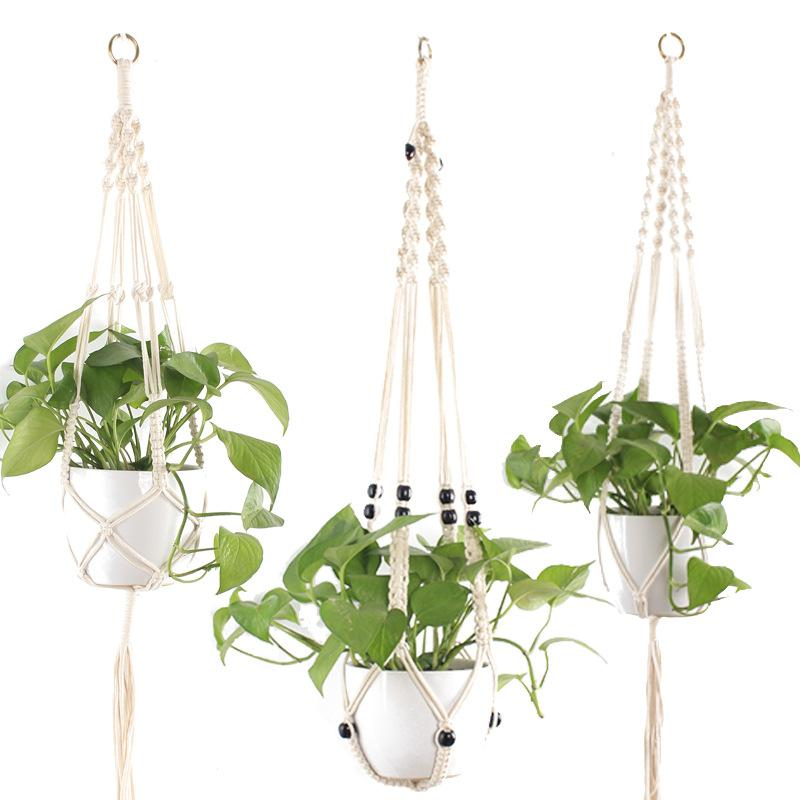 Handmade Macrame Plant Pot Hanger Rope Macrame Flower Hanger Plant Hanging for Garden Plant Tray Wall Balcony Home Decoration Hot Sales