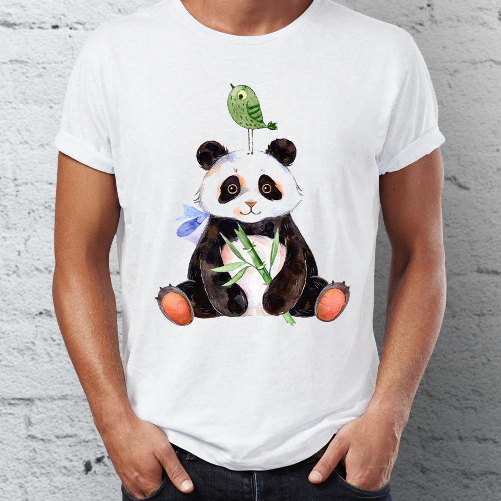 Neue Männer Kurzarm T-Shirt Netter Panda und Vogel Wasserfarben Illustration ehrfürchtiges Hemd Tees Animal T Tops Harajuku Street