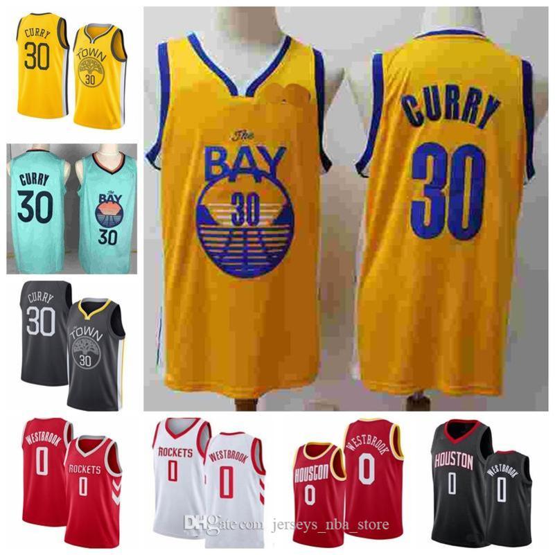 2019 El juego Russell Westbrook 0 Noticias Goldenn Stephen Curry 30 jerseys del baloncesto para hombre