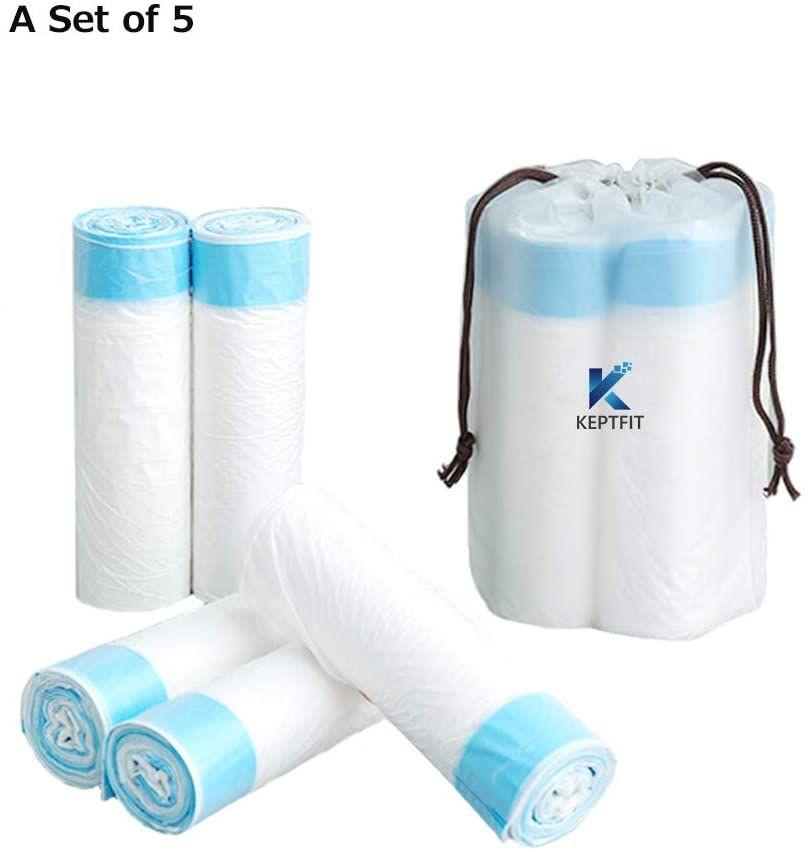 45x50cm Desodorante bolsas de cordón bolsas de basura de Super Strong cocina / dormitorio / oficina bolsas de basura, bolsas de basura blanco e inodoro (5 rollos)