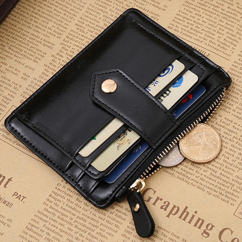 Black Leather Clip Women Fashionable Money Wallet Holder Credit Card Money Men Business Faux Simple Stylish Red Color Purse Oxffe