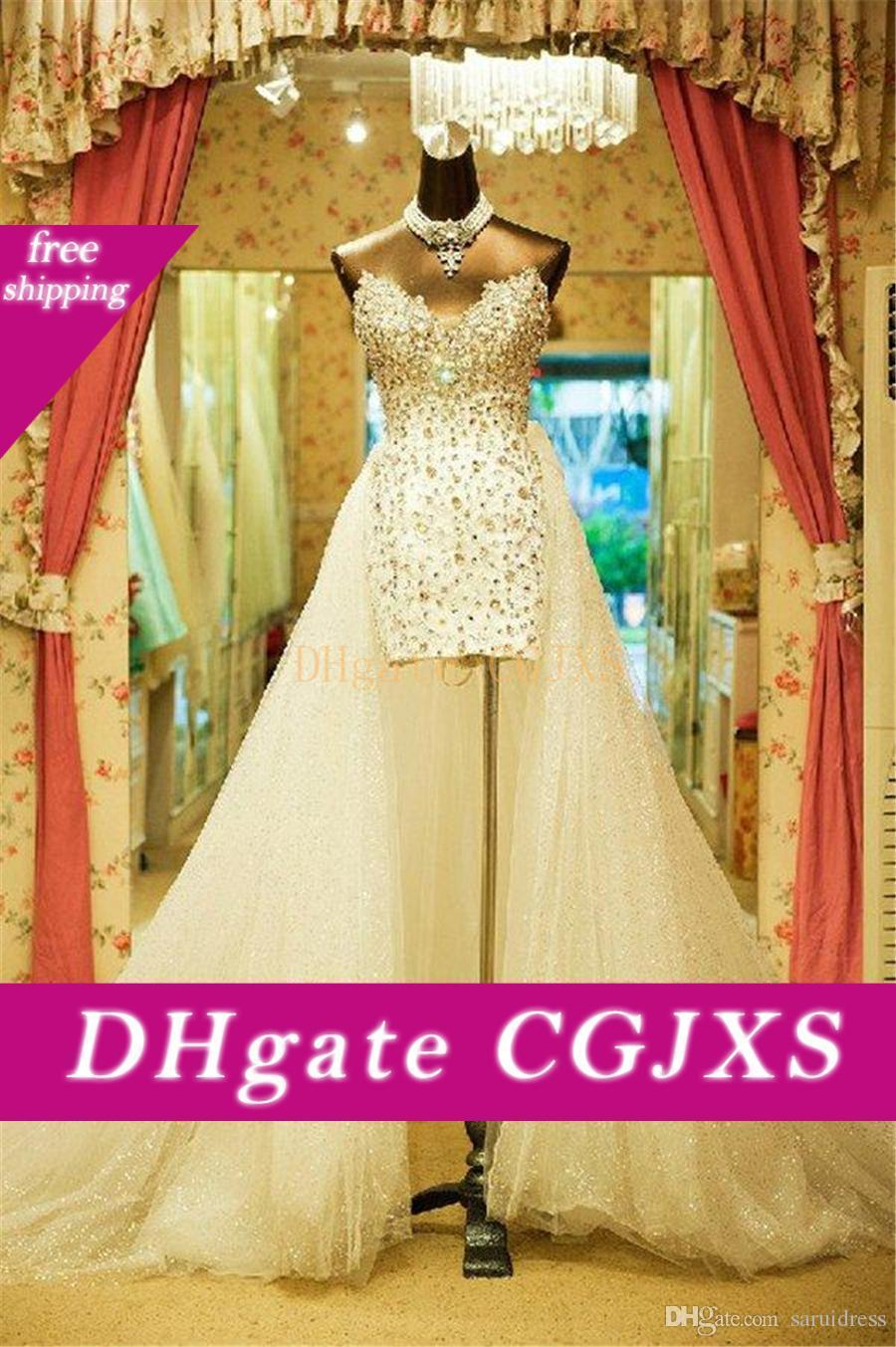Sweetheart Strapless Wedding Dresses Court Train Vintage Carolina Plus Size Brides Custom Made Hi -Low Beaded Crystal Bridal Dress
