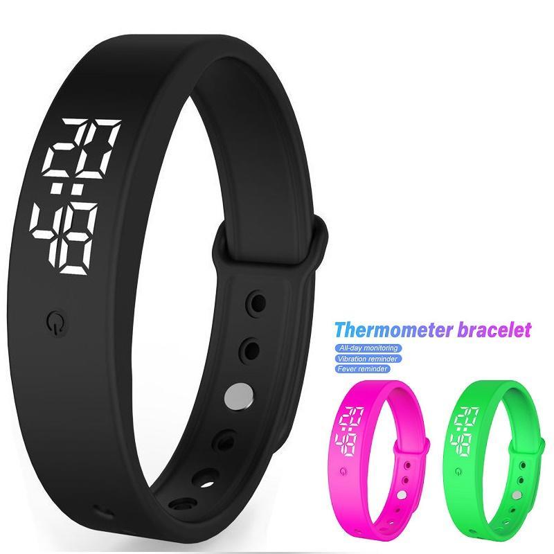 Nouveau bracelet intelligent V9 avec surveillance de la température corporelle Affichage précis de la bande Smart Band Rappel de vibration Bracelet d'horloge