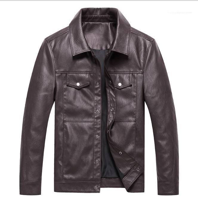 Casual masculino suelto Outwears Mens Designer PU Jacket Button Mose Adolescentes Soporte Collar Pocket Abrigos Moda