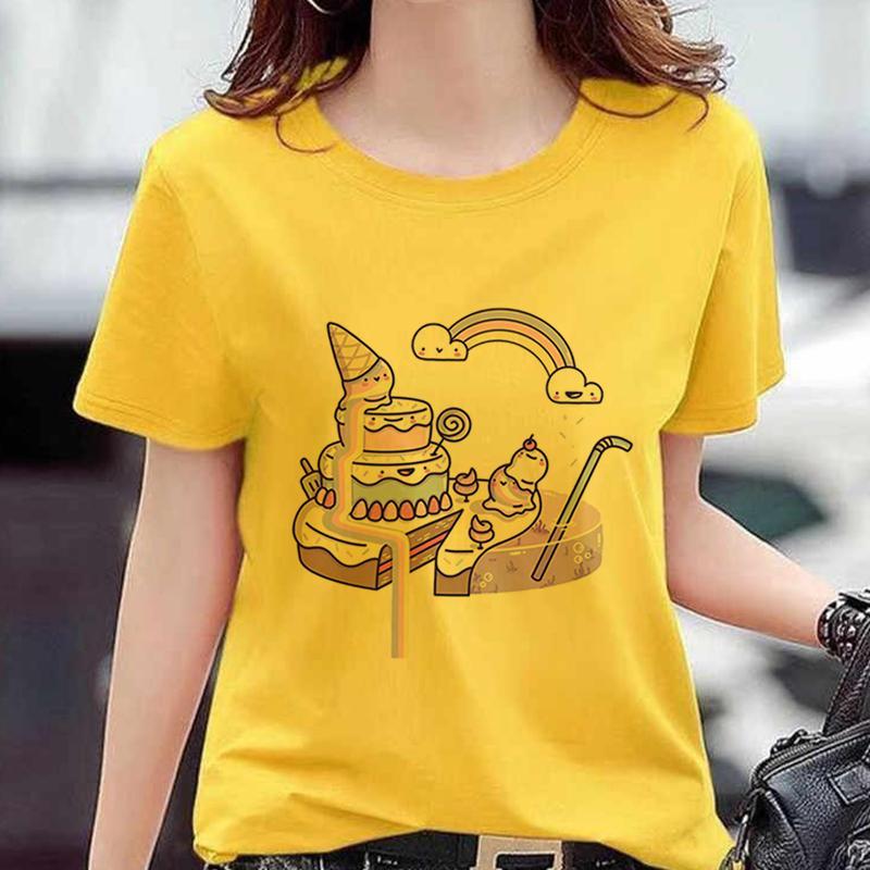 Novo Produto bolo padrão gráfico Imprimir camiseta Mulheres Harajuku amarelo bonito Kawaii Tops Verão Casual Tumblr equipamento da forma Tees