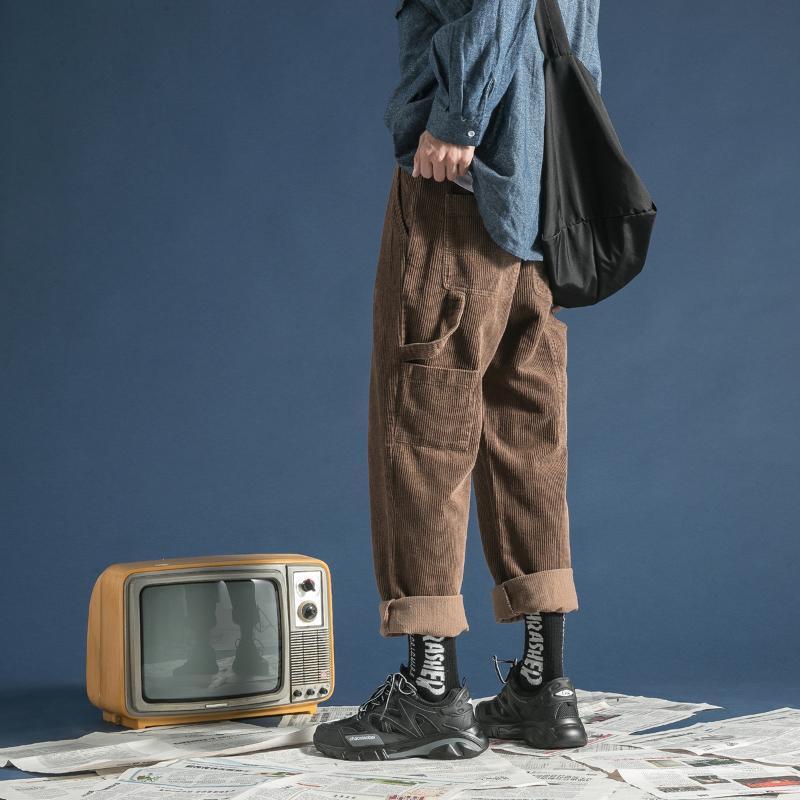 2020 d'hiver Épaissir hommes Corduroy Tissu Homme Coton Pantalons simple marque de haute qualité kaki / vert / gris Couleur Pantalon M-2XL