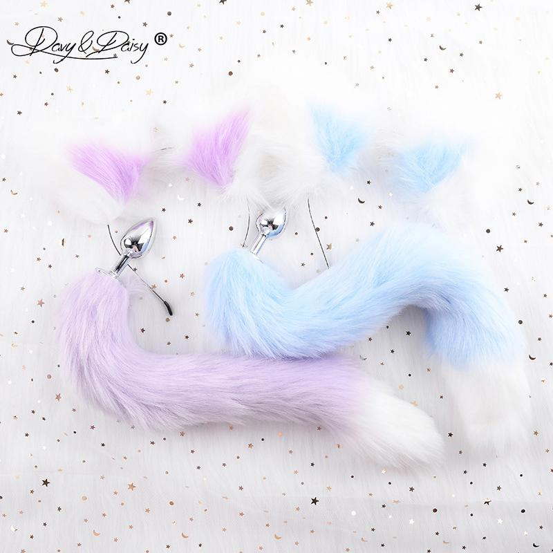 DAVYDAISY Cute Soft Cat Ears Headbands Faux Fox Tail Bow Metal Butt Anal Plug Cosplay Adult Sex Accessories for Woman AC111 MX200422