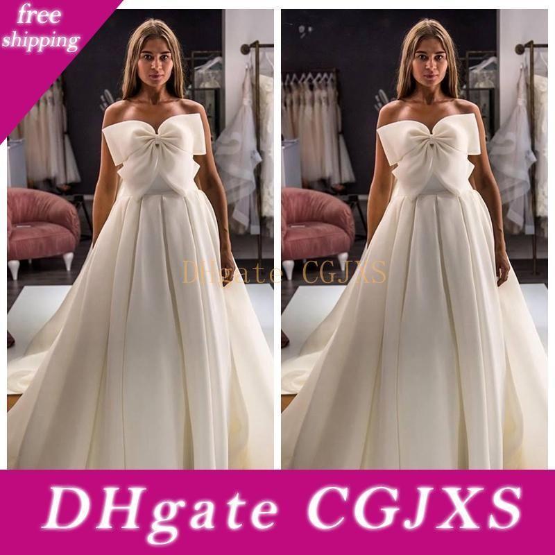 2020 nuevo amor Con Bownot adornado vestidos de novia de la princesa de los vestidos de novia de encaje hasta volver personalizada Vestidos de matrimonio
