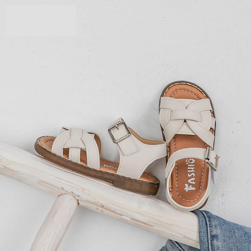 Vintange Плетение Твердой Закрытый носок 2020 новенького для девушки младенца плоских девушек сандалии лето Детей обувь Y200619
