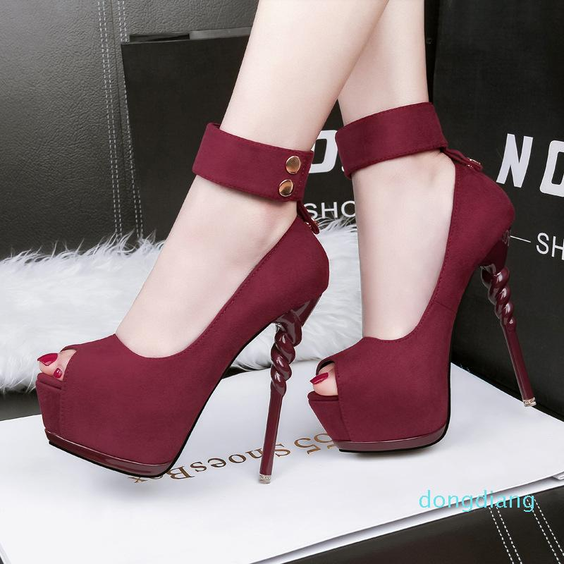 Hot Sale-Women Pumps Shoes Fashion Flock Peep Toe 14cm Thin High Heels Shallow 5cm Platform Solid Sexy Lady Club Party Shoes