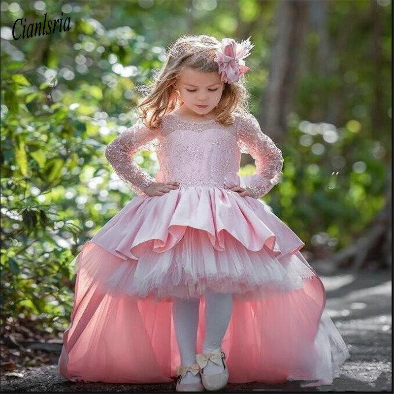 Haut Bas rose mignon fleur filles Robes pour le mariage à manches longues Robes de fête d'anniversaire avec Big Bow Custom Made robe