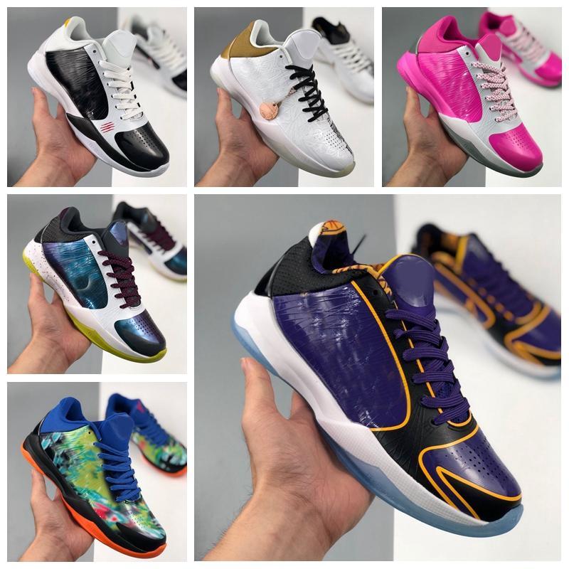 2020 Mens Zoom Mamba 5 V Protro Lakers 5s scarpe da basket rosa Cesti neri allenatori sportivi da tennis degli uomini zapatos des chaussures