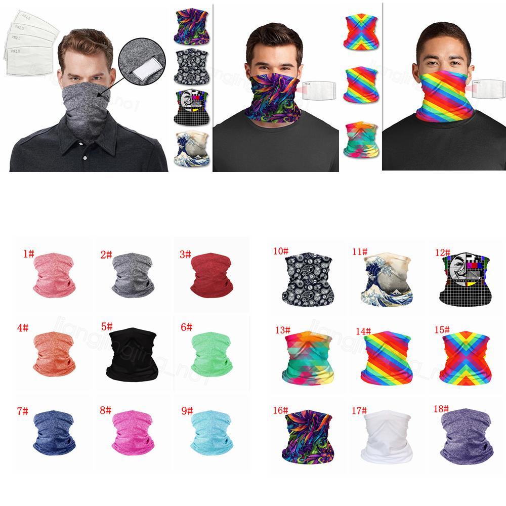 Yüz Maskeleri bandanas katı LGBT baskılı PM 2.5 Filtre Maskesi Açık Baş Eşarplar Boyun Wrap tozluk Bisiklet Yüz Dikişsiz Magic Eşarp FFA4349