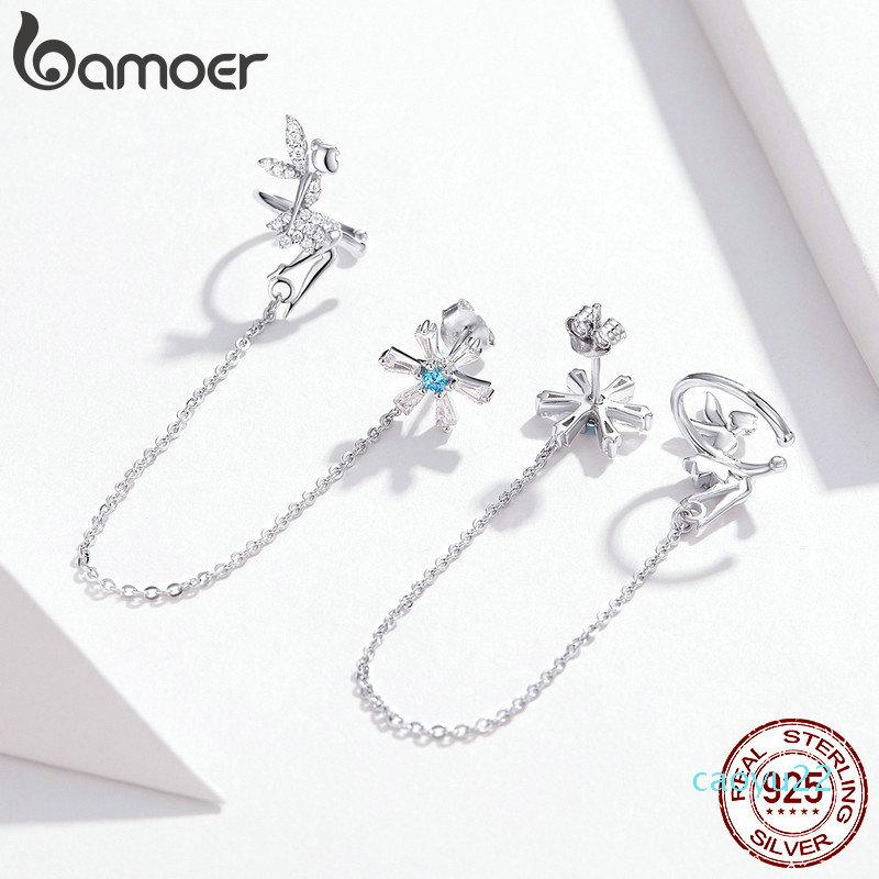 Hot Sale bamoer Fairy Elf Long Chain Clip and Stud Earrings for Women Genuine 925 Sterling Silver Girl Gifts Design Fine Jewelry