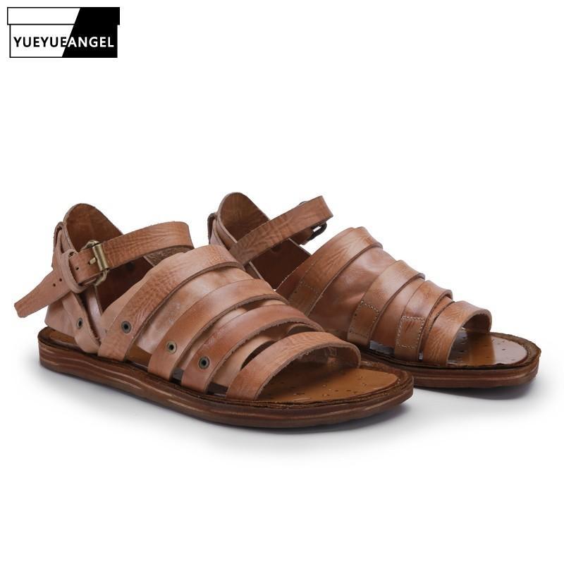 Luxo Handmade 100% couro genuíno couro Homens Gladiator Sandals Verão Casual Flats Vintage Praia Chinelo Strap Sandals