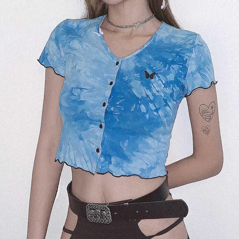 Avrupa ve Amerikan Kadın 2020 Yaz Yeni Ürünler Tie-boya İşlemeli Ahşap Kulak Hırka Kırpılmış tişört