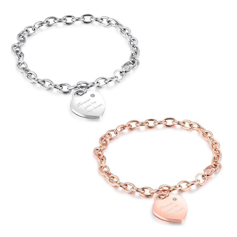 version coréenne du bracelet pendentif en forme de coeur cuvelage en acier de titane rose section féminine or bracelet corde d'amour