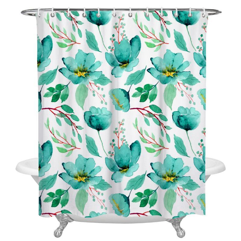 Waterproof Fabric Polyester Watercolor Flowers Shower Curtain Valentine Bath Mat