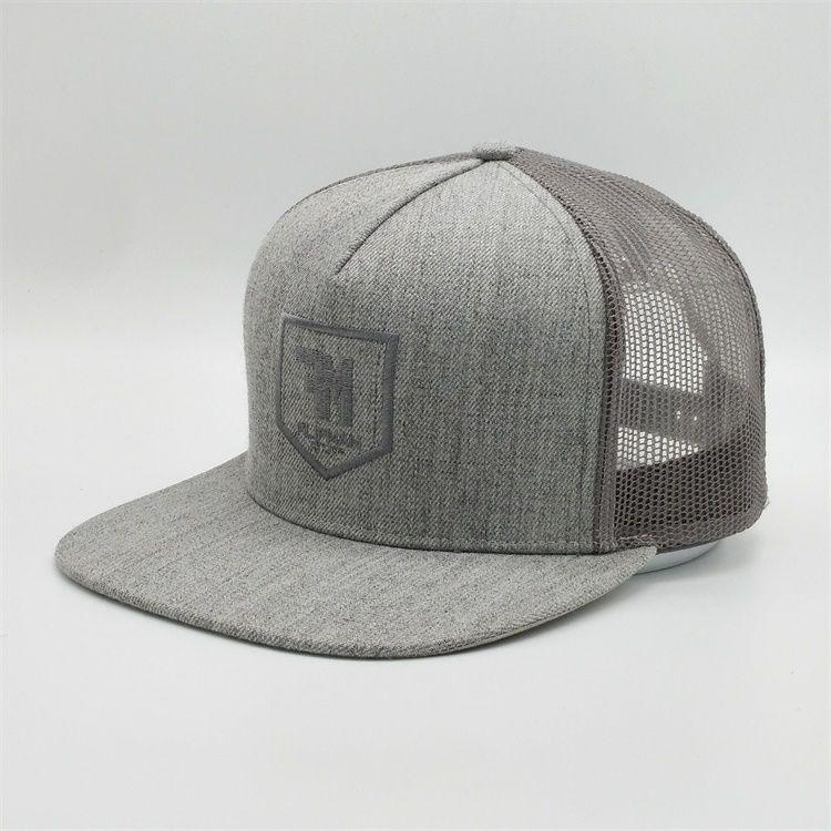 Özelleştirilmiş 5 Paneller Snapback Şapka Mesh Cap İşlemeli Marka Snap Back Trucker Gri Yün Erkekler Ve atari Caps Mesh Caps