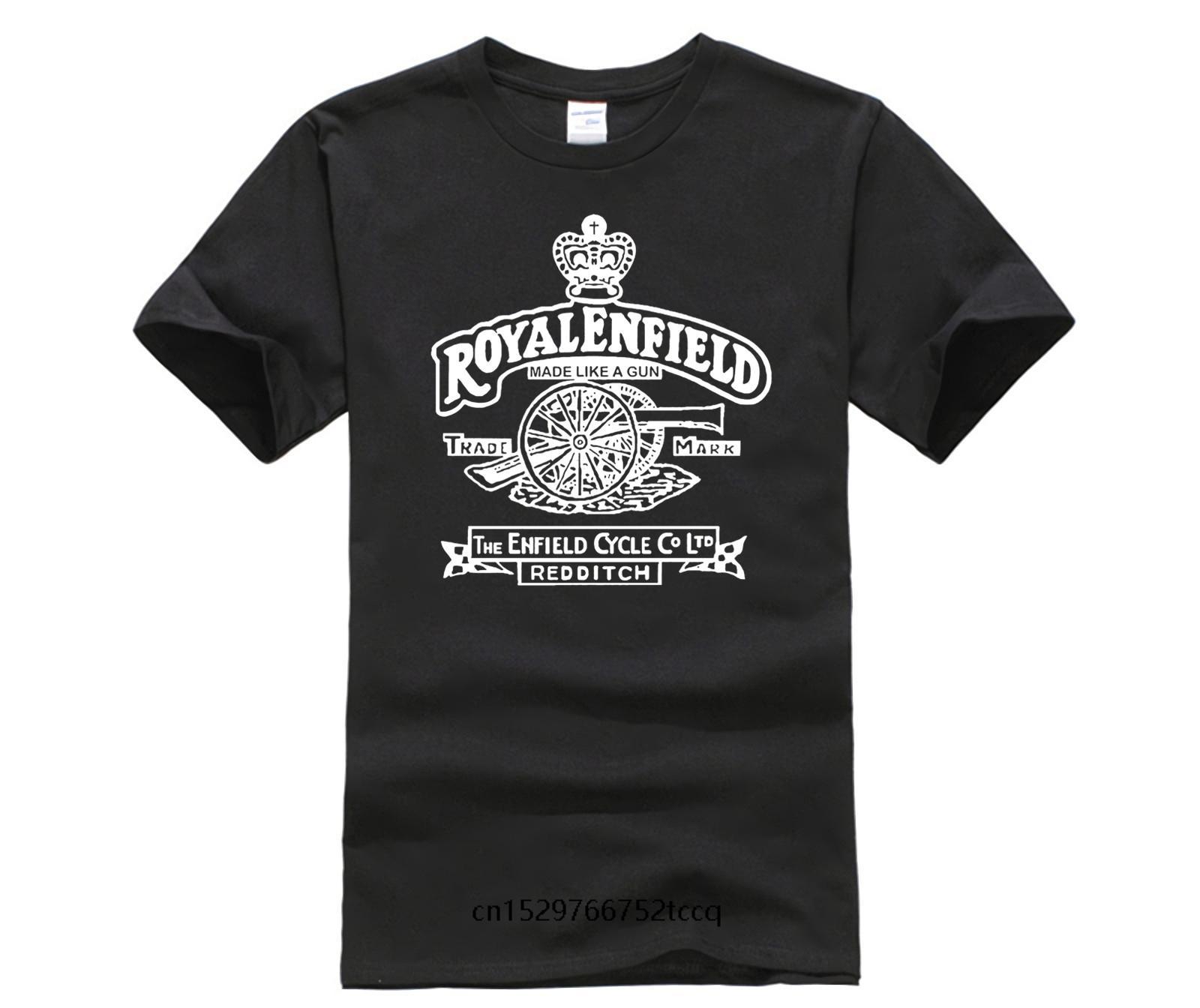 Hommes noirs T-shirt Royal Enfield Vintage Logo Discount 100% coton T-shirt pour les hommes Top Tee