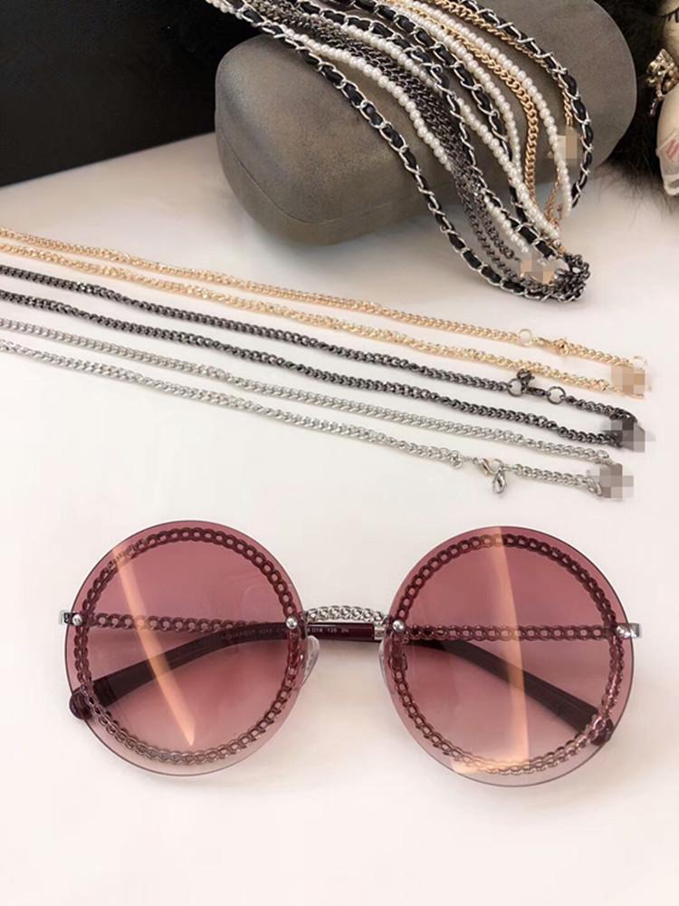2020 Nuovo di alta qualità più calda HC4245 rotondo stile catena di occhiali da sole UV400 del metallo di qualità del cuoio exqusite catena di perle 50-140 pieno caso di uscita