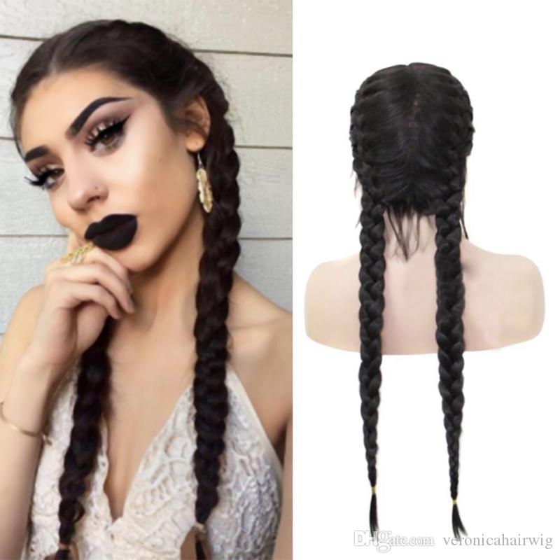 Natural Hairline Black Long Double Braids Synthetic Braided Lace Front Wigs with Baby Hair Heat Resistant Fiber 26inch