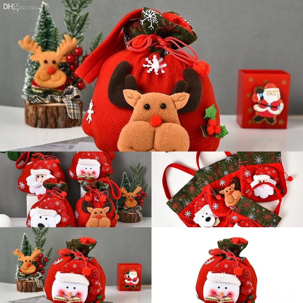 UDExG Christmas Stocking Latticed Bags Gift Candy Bag bags Tree Decoration Socks hanging Ornament Christmas Gift Wrap kids Xams FFA