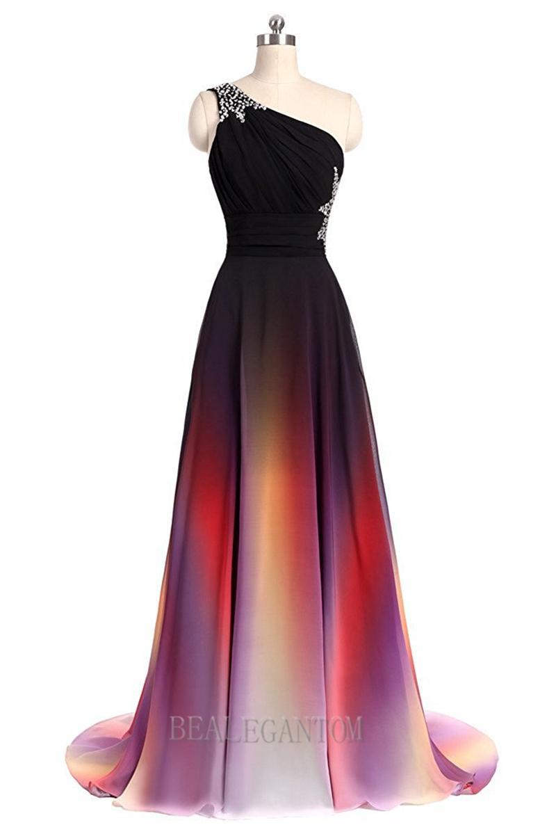 2018 New Sexy de um ombro Ombre longa noite Prom Vestidos Chiffon A linha Plus Size Andar de comprimento formal do partido vestido BM05