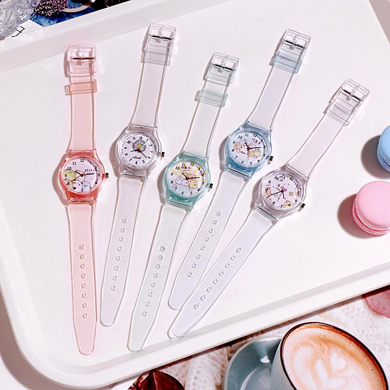 High Quality Crystal Watch Cartoon Novelty Transparent Silicone Strap Classic Electronic Watch for Student Women Flower Animal Wrist Watch