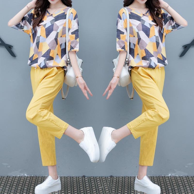 ntB3Z e algodão terno verão 2020 nova de duas peças de linho das mulheres lençóis de algodão moda casual jovem emagrecimento das mulheres moda conjunto de roupas